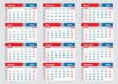 English calendar 2015, horizontal calendar grid — Wektor stockowy