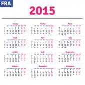 French calendar 2015, horizontal calendar grid — Wektor stockowy