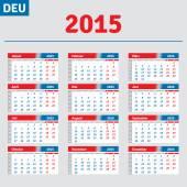German calendar 2015, horizontal calendar grid — Wektor stockowy