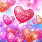 Discounts on flying in the form of hearts balls — Stockvector
