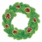 Köknar koniler ile Noel çelenk — Stok Vektör