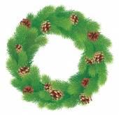 Christmas wreath with fir cones — Stock Vector