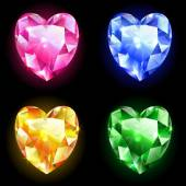 Set of  diamonds shape of heart — Stock Vector