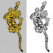 Tribal predatory Tiger  tattoo — Stock Vector