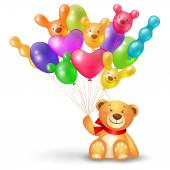 Teddy bear with  balloons — Stock Vector