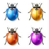 Set of multicolored fictional beetles — Stockvektor