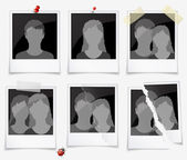Set of photo frames with silhouettes of men and women — Stock Vector