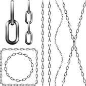 Sada kovových řetězů — Stock vektor