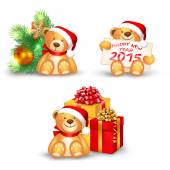 Set of Christmas icons with a cute teddy bear — Stock Vector