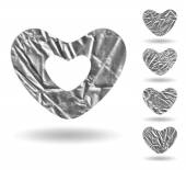 Set of hearts made of gray crumpled foil — Stock Vector