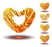 Set of golden hearts — Stock Vector