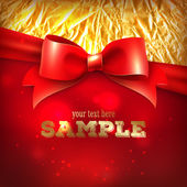 Greeting card template, with red bow and foil — Stock Vector
