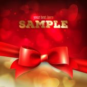 Greeting card template, with red bow and hearts — Stock Vector