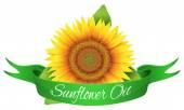 The label on the bottle of sunflower oil — Stock Vector