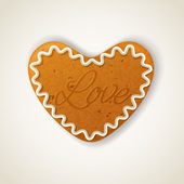 Happy Valentines day cookie in the shape of a heart — Stock Vector