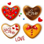 Set of Happy Valentines day cookies in the shape of a hearts — Stock Vector