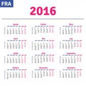 French calendar 2016 — Stock Vector