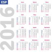 Spanish calendar 2016 — Vector de stock