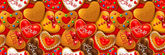 Horizontal banner with Happy Valentine's day cookies — Stock Photo
