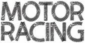 Motor Racing text with the letters made from motorcycle tire tracks — Stock Vector