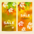 Autumn Sale, 2 vertical banners, vector background with maple leaves — Stock Vector #84270556