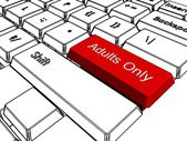Adults only button on keyboard — Stock Photo