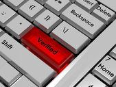 Verified keyboard key — Stock Photo