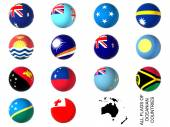 Flags of oceania countries — Stock Photo