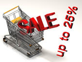 Shopping Cart With Twenty Five Percent Discount Sale — Stock Photo