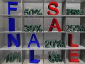White shelf with word FINAL SALE and percents — Stock Photo