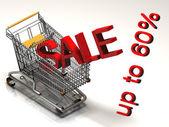 Shopping cart och röda sixthy procentrabatt, isolerad på vit bakgrund. — Stockfoto