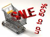 Shopping cart and red fifty  percentage discount, isolated on white background. — Stock Photo