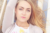Young women outdoors portrait. Soft creamy colors. — Stock Photo