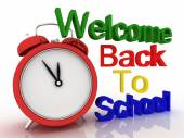 3D clock with words welcome back to school. Education concept — Stock Photo