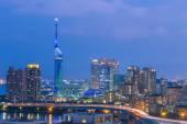 Panorama view of Fukuoka cityscape in Kyushu, Japan. — Stock Photo