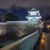 Kanazawa castle at night in Kanazawa, Japan. — Stock Photo