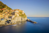 Sunset of Manarola, one of the five villages of the Cinque Terre — Stock Photo