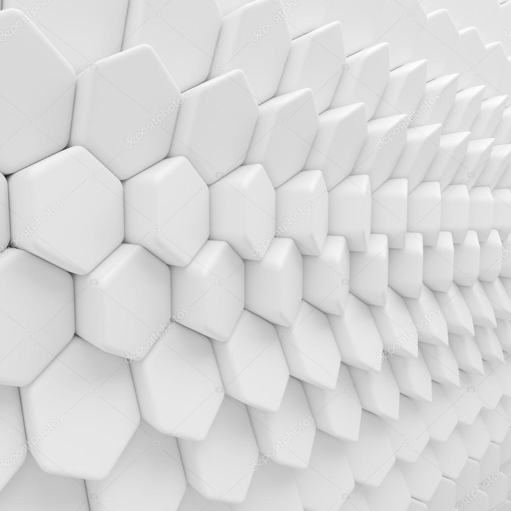Telón De Fondo Blanco Hexágonos Abstracta. 3D Polígonos