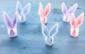 Group of Cute bunnies colorful paper — Stock Photo