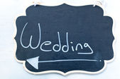 Sign indicating the marriage during a ceremony — Stock Photo
