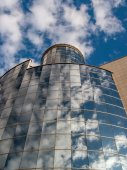 Glass reflections with sky — Stock Photo