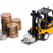 Yellow toy forklift and money — Stock Photo #61795209