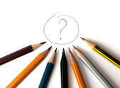 Question Sign With Pencils — Stock Photo