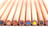 Backside of colored wooden pencils — Stock Photo