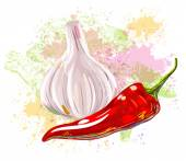 Garlic and Chilli — Stock Vector