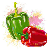 Red and green bell peppers — Stock Vector