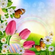 Easter Background with tulips — Stock Vector #63076429