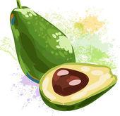 Avocado on spots of paint — Stock Vector