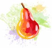 Pear on background of grunge spots — Stock Vector