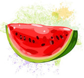 Watermelon slice on spots of paint — Stock Vector